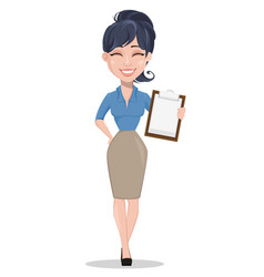 Laughing business woman holding checklist vector