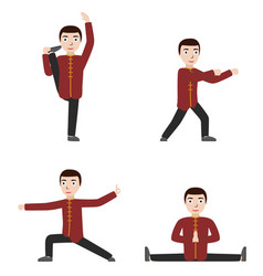 Man performing qigong or taijiquan exercises vector