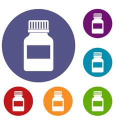 medicine bottle icons set vector image