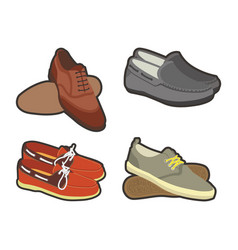 Mens shoes in sport and classical styles set vector