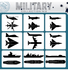 military planes and warships vector image