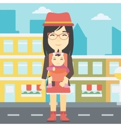 Mother carrying her daughter in sling vector image