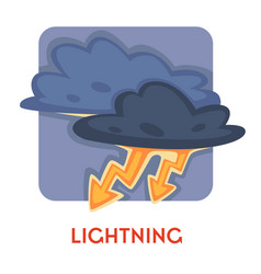 Natural disaster lightning or thunder danger and vector