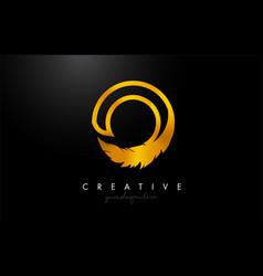 O golden gold feather letter logo icon design vector