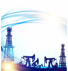 oil field with derricks and pumpd over blue sky vector image