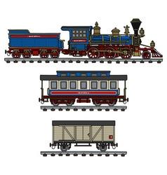 Old american steam train vector