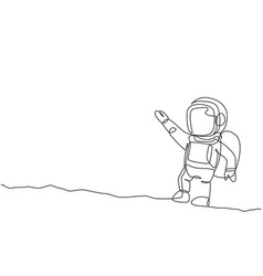 One continuous line drawing young astronaut vector