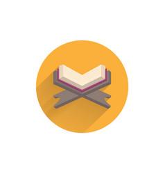 Open holy quran book koran book colorful flat vector