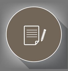 Paper and pencil sign white icon on brown vector