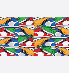 pattern with sneaker shoes vector image