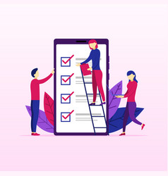 people fill out form mobile survey vector image