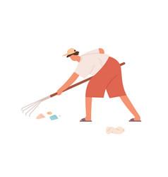 Person raking litter with raker volunteer vector