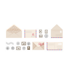 post card and envelope collection open and close vector image