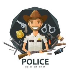 Ranger sheriff logo design template vector