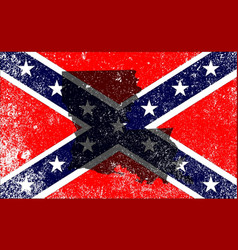 Rebel civil war flag with louisiana map vector