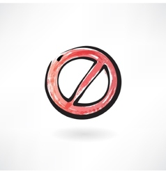 red ban grunge icon vector image
