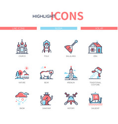 russia - modern line design style icons set vector image