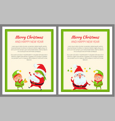 Santa and elf cartoon playing in hide-and-seek set vector
