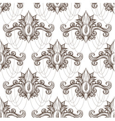 seamless damask pattern of elegant twisted woven vector image