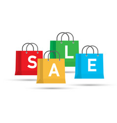 set of colorful sale shopping bags isolated on vector image