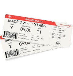 set of two red boarding pass tickets vector image