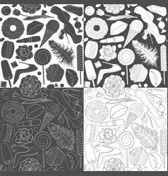 Set patterns glamorous female vector
