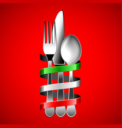 Silver cutlery and italian flag ribbon on red vector