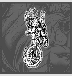 skull riding a bicycle hand drawing vector image
