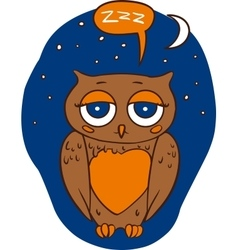 Sleepy Brown Owl vector image
