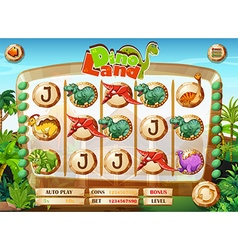 Slot game template with dinosaur characters vector