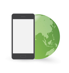 Smart phone in front of green globe vector