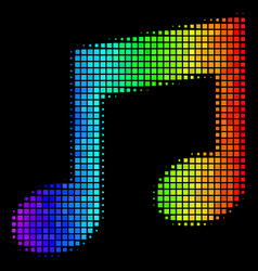 Spectral colored dotted music notes icon vector
