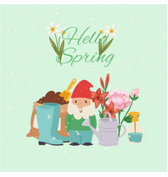 spring time gardening concept with gnome gum vector image
