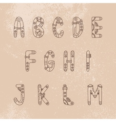 Steampunk font A-M vector image