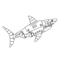 Steampunk style shark coloring book vector