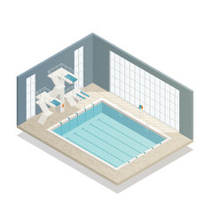 Swimming pool indoor isometric composition vector