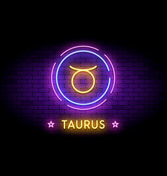 Taurus zodiac symbol in neon style on a wall vector
