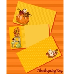 Thanksgiving day card three cards with pattern vector image