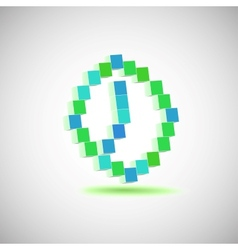 Three-dimensional Shape pixel style the clock vector image