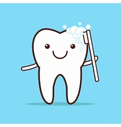 Tooth with toothbrush vector