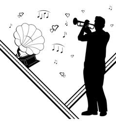 trumpeter gramophone vector image