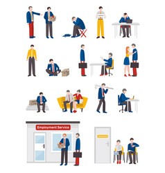 Unemployed people characters set vector
