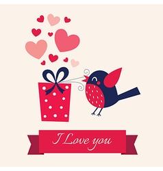 Valentine day with bird vector image