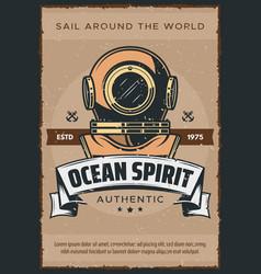 vintage marine diver helmet poster vector image