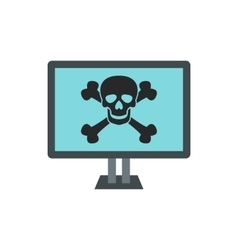 Virus on computer icon flat style vector image