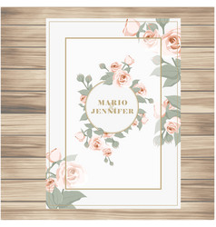 Wedding label pink roses vanilla background vector