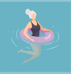 woman floating on inflatable ring woman in black vector image