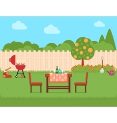 house backyard with grill and garden vector image