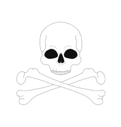 Jolly Roger Contour lines skull with crossbones vector image