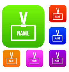 plastic name badge with neck strap set collection vector image